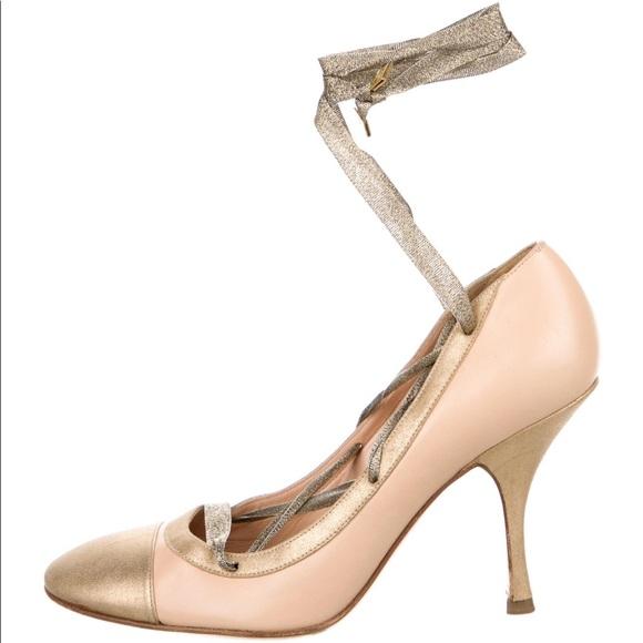 Vintage Chanel metallic ribbon heels